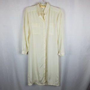 Crepes Suzette night shirt 100% silk cream VTG S